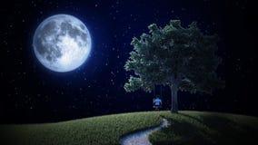 Pequeño muchacho en un oscilación que mira la luna Imágenes de archivo libres de regalías