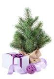 Pequeño árbol de navidad con la caja de la decoración y de regalo Fotos de archivo libres de regalías