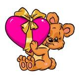 Pequeño regalo lindo del corazón de la tarjeta del día de San Valentín del oso de peluche Imagen de archivo libre de regalías