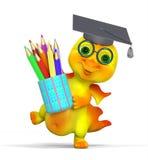 Pequeños diploma y lápices divertidos del casquillo de la graduación del carácter del dragón Imagen de archivo libre de regalías