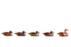 Pequeños patos de madera Fotografía de archivo libre de regalías