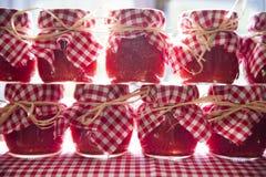 Pequeños tarros de salsa de tomate Foto de archivo libre de regalías