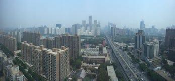 PEQUIM, CHINA - CERCA DO junho de 2015, a vista em Beijing' financia de s imagens de stock royalty free