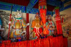 PEQUIM, CHINA - 29 DE JANEIRO DE 2017: Andando ao redor no Grande Muralha impressionante, os templos pequenos, estátuas e compram Imagem de Stock Royalty Free