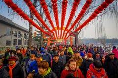PEQUIM, CHINA - 29 DE JANEIRO DE 2017: As linhas longas de povos que atendem aos anos novos justos em Longtan estacionam, tradici Imagens de Stock Royalty Free