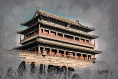 Pequim, China no Gatehouse de Zhengyangmen na Praça de Tiananmen foto de stock
