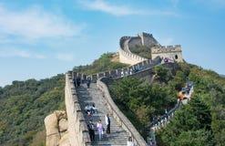 PEQUIM, CHINA, SETEMBRO, 29, 2016: Turistas que andam no Grea Imagens de Stock Royalty Free