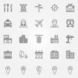 Perímetro urbano ícones ajustados ilustração stock
