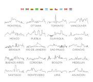Perímetro urbano arte da skyline do norte e da Ámérica do Sul, projeto da ilustração do vetor ilustração royalty free