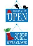 Período de la Navidad abierto y muestra cerrada Imagen de archivo libre de regalías