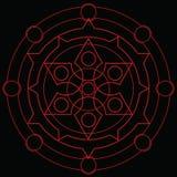 Período mágico vermelho da placa da feitiçaria do círculo fotos de stock royalty free
