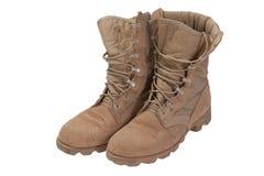 Período usado velho da guerra no iraque das botas de deserto isolado Imagem de Stock Royalty Free