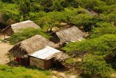 Perú, paisaje peruano de Amazonas. El acuerdo indio típico de las tribus del presente de la foto en el Amazonas foto de archivo