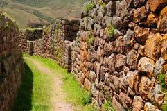 Perú, valle sagrado, ruinas del inca de Pisaq fotografía de archivo