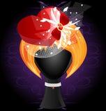 Perücke der Dame in einem roten heart-shaped Hut Stockfotos