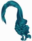 Perückenblaufarben der gelockten Haare der Frau modische lange Retro- Art Perückenblaufarben der gelockten Haare der Frau modisch stock abbildung