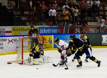 Per-Ake Skroder, MODO try to score goal in the Ice hockey match in hockeyallsvenskan between SSK and MODO Stock Images