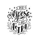 Per aspera ad astra - medios latinos de la frase con dificultades a las estrellas Cita inspirada dibujada mano del vector para la Stock de ilustración