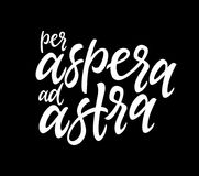 Per Aspera Ad Astra - vector hand drawn brush pen lettering illustration stock illustration