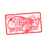 100 per cent dark meat -  red rubber dirty grungy stamp. In rectangular vector illustration Stock Photography