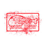 100 per cent dark meat - red rubber grungy stamp in rectangular. With dirty background vector illustration royalty free illustration