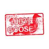 100 per cent goose - red rubber dirty grungy stamp in rectangula Stock Photos