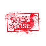 100 per cent goose - red rubber grungy stamp in rectangular with Stock Images