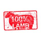 100 per cent lamb - red rubber dirty grungy stamp in rectangular. Vector illustration isolated Royalty Free Stock Photo