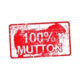 100 per cent mutton - red rubber dirty grungy stamp in rectangul Stock Photos