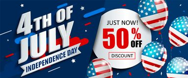 50 per cent off sale banner for Independence day. 50 per cent off sale banner with balloons for Independence day. Just now offer of half price discount vector illustration