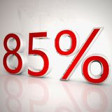 85 per cent. Over white reflecting background, 3d rendering royalty free illustration