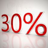 30 per cent. Over white reflecting background, 3d rendering Stock Photos