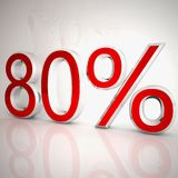 80 per cent. Over white reflecting background, 3d rendering Royalty Free Illustration