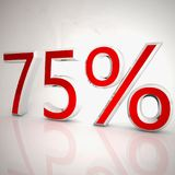 75 per cent. Over white reflecting background, 3d rendering Stock Photo