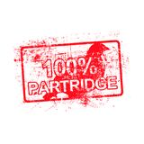 100 per cent PARTRIDGE - red rubber grungy stamp in rectangular. With dirty background vector illustration Royalty Free Stock Photography