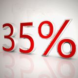 35 per cent. Over white reflecting background, 3d rendering Royalty Free Stock Image