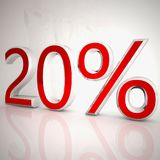 20 per cent. Over white reflecting background, 3d rendering royalty free illustration
