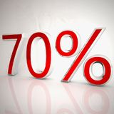 70 per cent. Over white reflecting background, 3d rendering Stock Photo