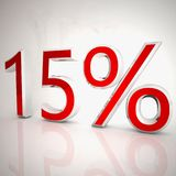 15 per cent. Over white reflecting background, 3d rendering Royalty Free Stock Photo