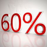 60 per cent. Over white reflecting background, 3d rendering stock illustration