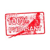 100 per cent pheasant - red rubber dirty grungy stamp in rectang. Ular vector illustration isolated stock illustration