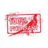 100 per cent pheasant - red rubber grungy stamp in rectangular w. Ith dirty background vector illustration vector illustration