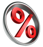 Per cent red symbol in round frame Stock Images
