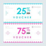 25 and 75 per cent vouchers. 25 and 75 per cent discount vouchers in pink and blue colors Stock Illustration
