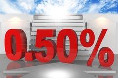 Per cento allo zero assoluto di tassi di interesse cinquanta Immagini Stock Libere da Diritti