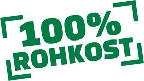 100 per cento dell'alimento crudo Fotografie Stock