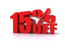 Per cento di 15% fuori dal segno promozionale Fotografia Stock