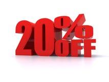 Per cento di 20% fuori dal segno promozionale Fotografia Stock Libera da Diritti