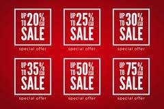 20 - 75 per cento fuori dagli sconti di vendita fissati su fondo rosso Offerta speciale royalty illustrazione gratis