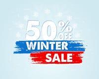 50 per cento fuori dalla vendita di inverno in insegna disegnata blu Immagine Stock